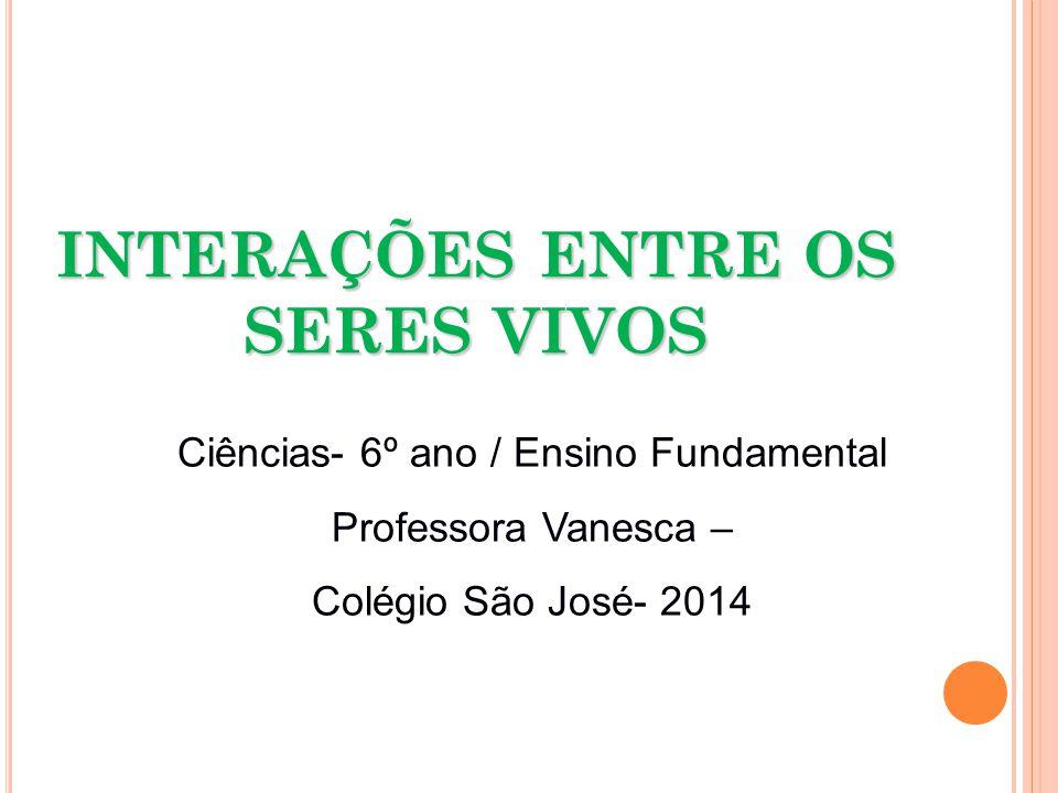 INTERAÇÕES ENTRE OS SERES VIVOS Ciências- 6º ano / Ensino Fundamental Professora Vanesca – Colégio São José- 2014