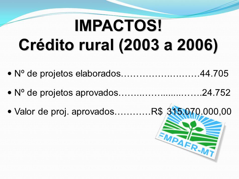 IMPACTOS! Crédito rural (2003 a 2006) Nº de projetos elaborados…………….….……44.705 Nº de projetos aprovados……..……........…….24.752 Valor de proj. aprovad
