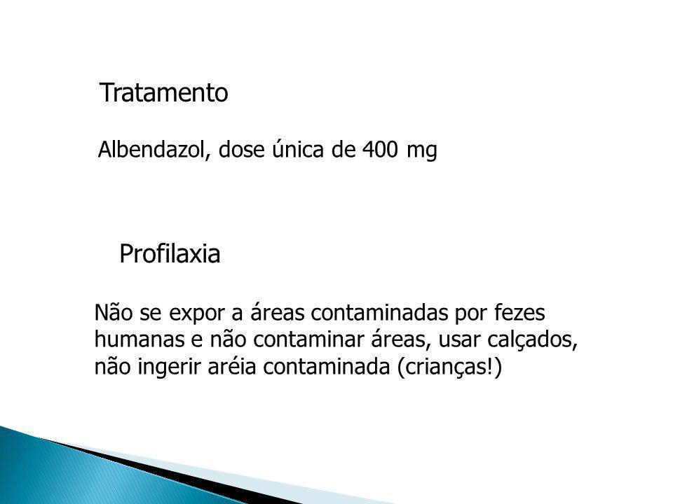 Tratamento Não se expor a áreas contaminadas por fezes humanas e não contaminar áreas, usar calçados, não ingerir aréia contaminada (crianças!) Profil