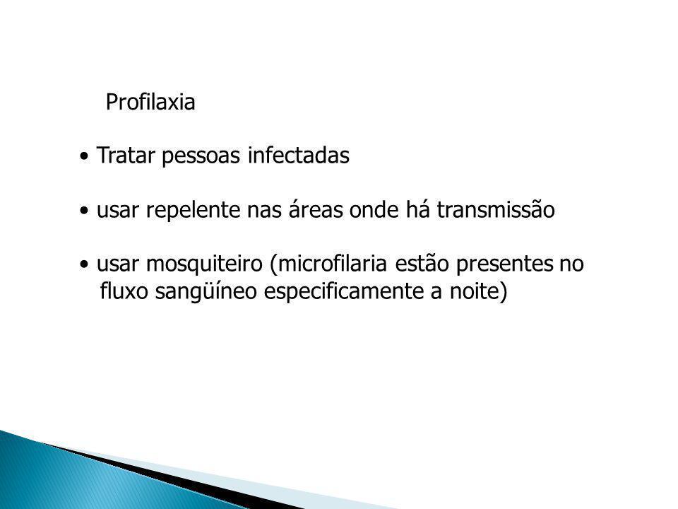 Profilaxia Tratar pessoas infectadas usar repelente nas áreas onde há transmissão usar mosquiteiro (microfilaria estão presentes no fluxo sangüíneo es