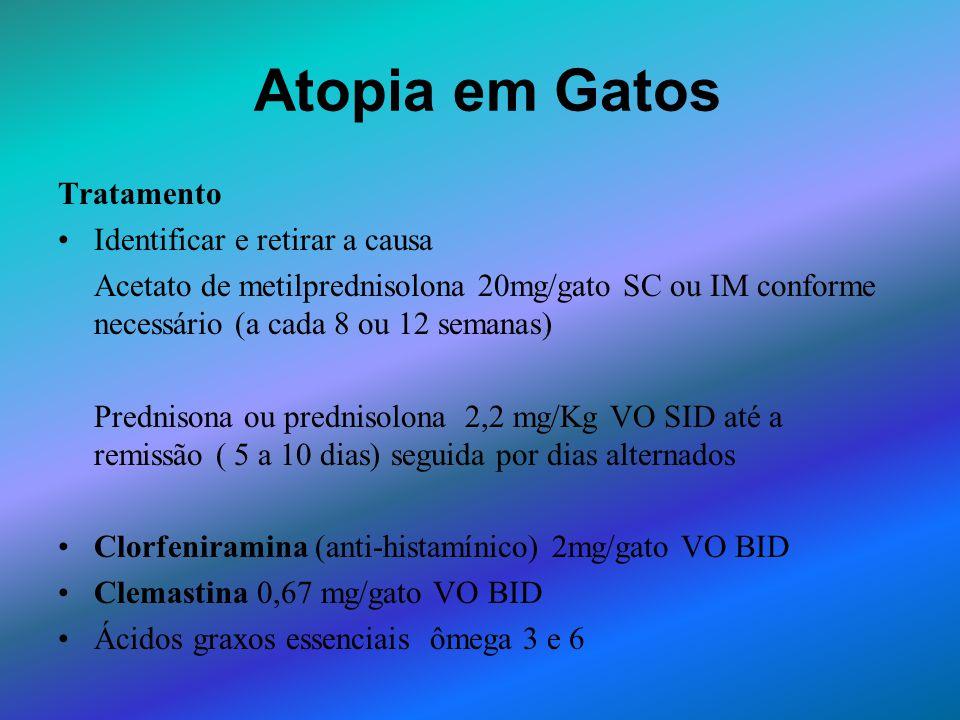 Atopia em Gatos Tratamento Identificar e retirar a causa Acetato de metilprednisolona 20mg/gato SC ou IM conforme necessário (a cada 8 ou 12 semanas)