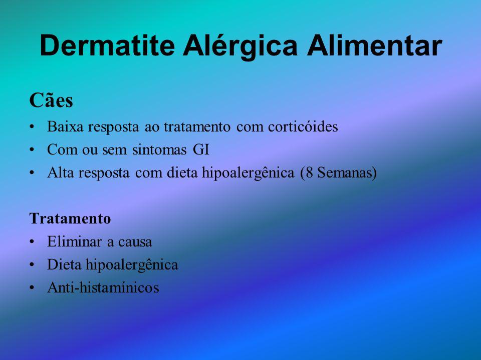 Dermatite Alérgica Alimentar Cães Baixa resposta ao tratamento com corticóides Com ou sem sintomas GI Alta resposta com dieta hipoalergênica (8 Semana