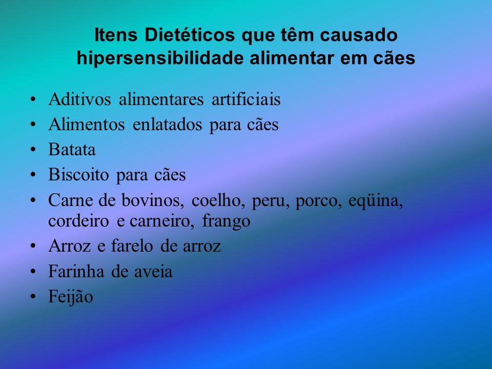 Itens Dietéticos que têm causado hipersensibilidade alimentar em cães Aditivos alimentares artificiais Alimentos enlatados para cães Batata Biscoito p