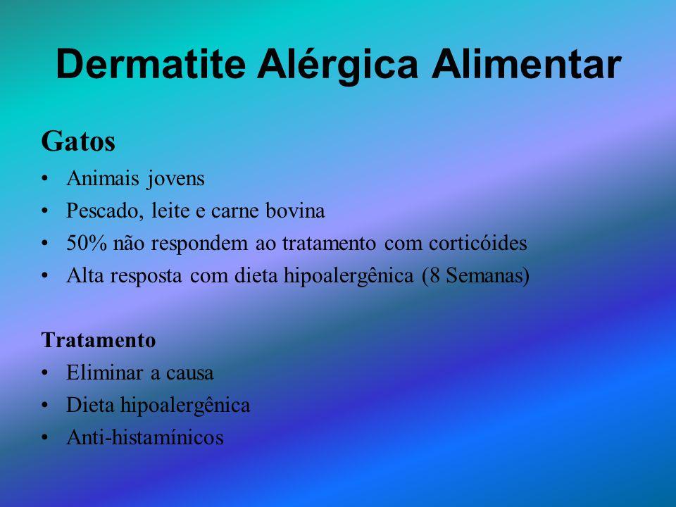 Dermatite Alérgica Alimentar Gatos Animais jovens Pescado, leite e carne bovina 50% não respondem ao tratamento com corticóides Alta resposta com diet