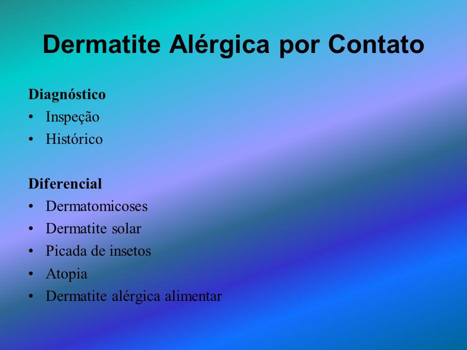 Dermatite Alérgica por Contato Diagnóstico Inspeção Histórico Diferencial Dermatomicoses Dermatite solar Picada de insetos Atopia Dermatite alérgica a