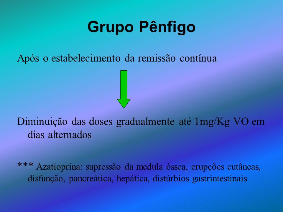 Grupo Pênfigo Após o estabelecimento da remissão contínua Diminuição das doses gradualmente até 1mg/Kg VO em dias alternados *** Azatioprina: supressã