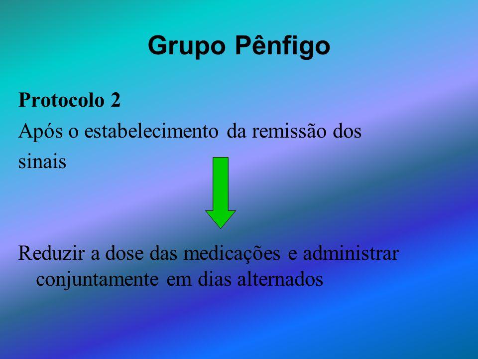Grupo Pênfigo Protocolo 2 Após o estabelecimento da remissão dos sinais Reduzir a dose das medicações e administrar conjuntamente em dias alternados