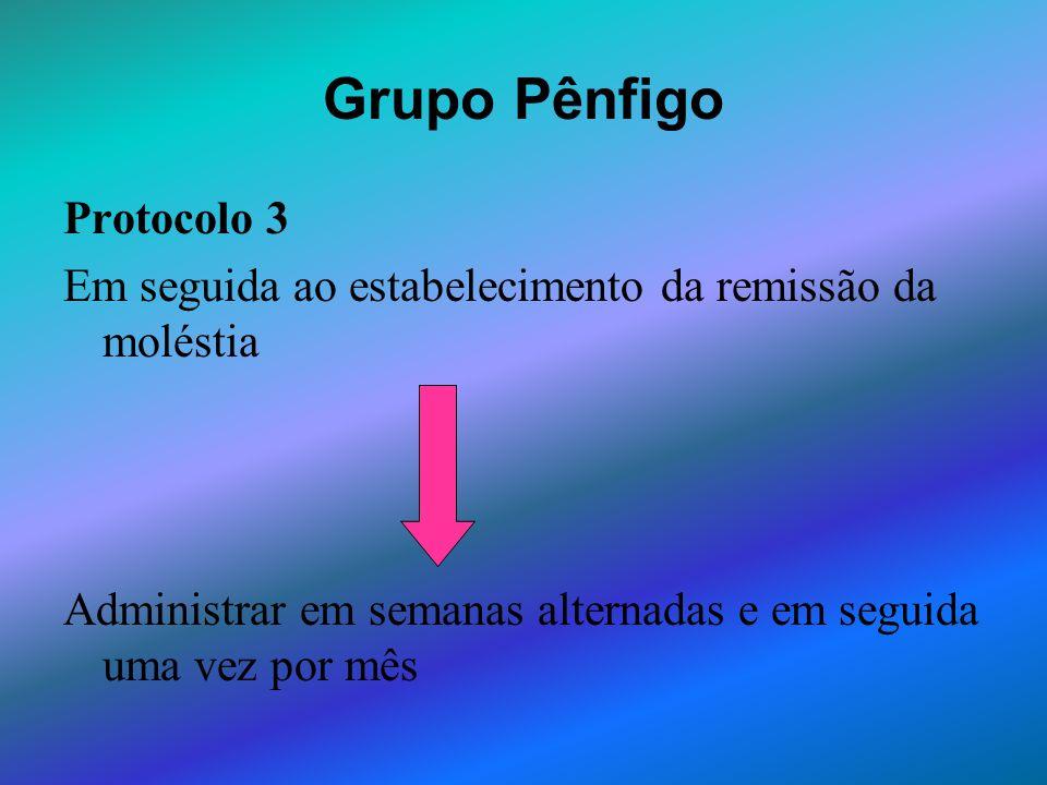 Grupo Pênfigo Protocolo 3 Em seguida ao estabelecimento da remissão da moléstia Administrar em semanas alternadas e em seguida uma vez por mês
