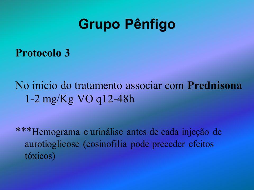 Grupo Pênfigo Protocolo 3 No início do tratamento associar com Prednisona 1-2 mg/Kg VO q12-48h *** Hemograma e urinálise antes de cada injeção de auro