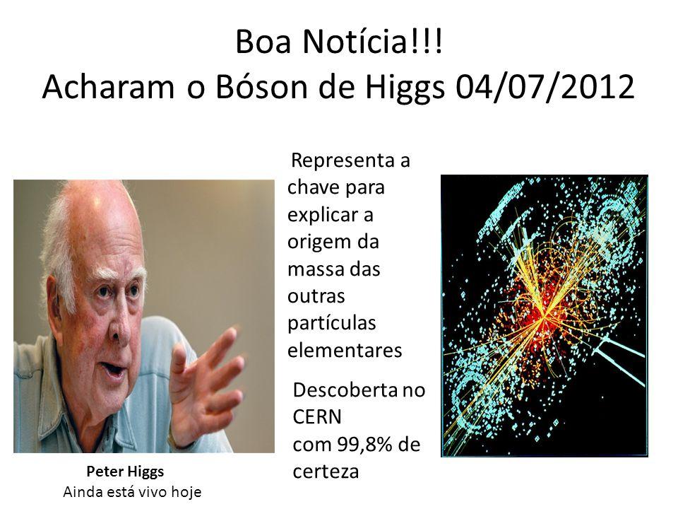 Boa Notícia!!! Acharam o Bóson de Higgs 04/07/2012 Representa a chave para explicar a origem da massa das outras partículas elementares Descoberta no
