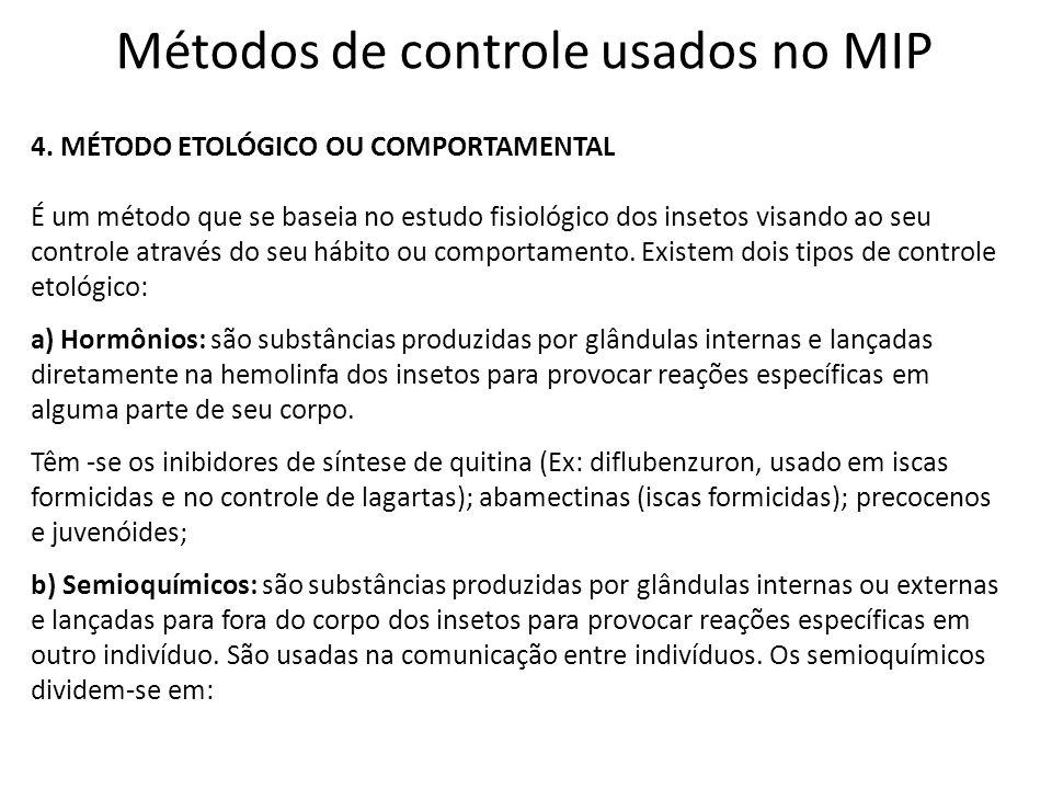 Métodos de controle usados no MIP 4. MÉTODO ETOLÓGICO OU COMPORTAMENTAL É um método que se baseia no estudo fisiológico dos insetos visando ao seu con