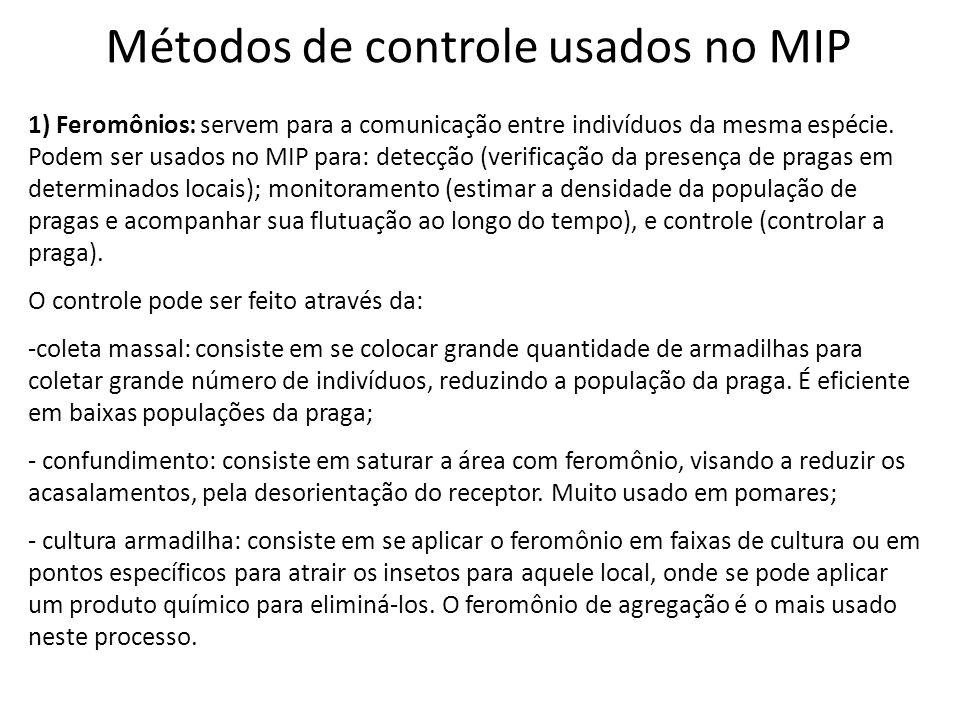 Métodos de controle usados no MIP 1) Feromônios: servem para a comunicação entre indivíduos da mesma espécie. Podem ser usados no MIP para: detecção (