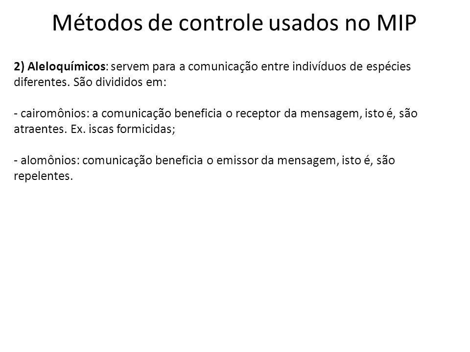 Métodos de controle usados no MIP 2) Aleloquímicos: servem para a comunicação entre indivíduos de espécies diferentes. São divididos em: - cairomônios