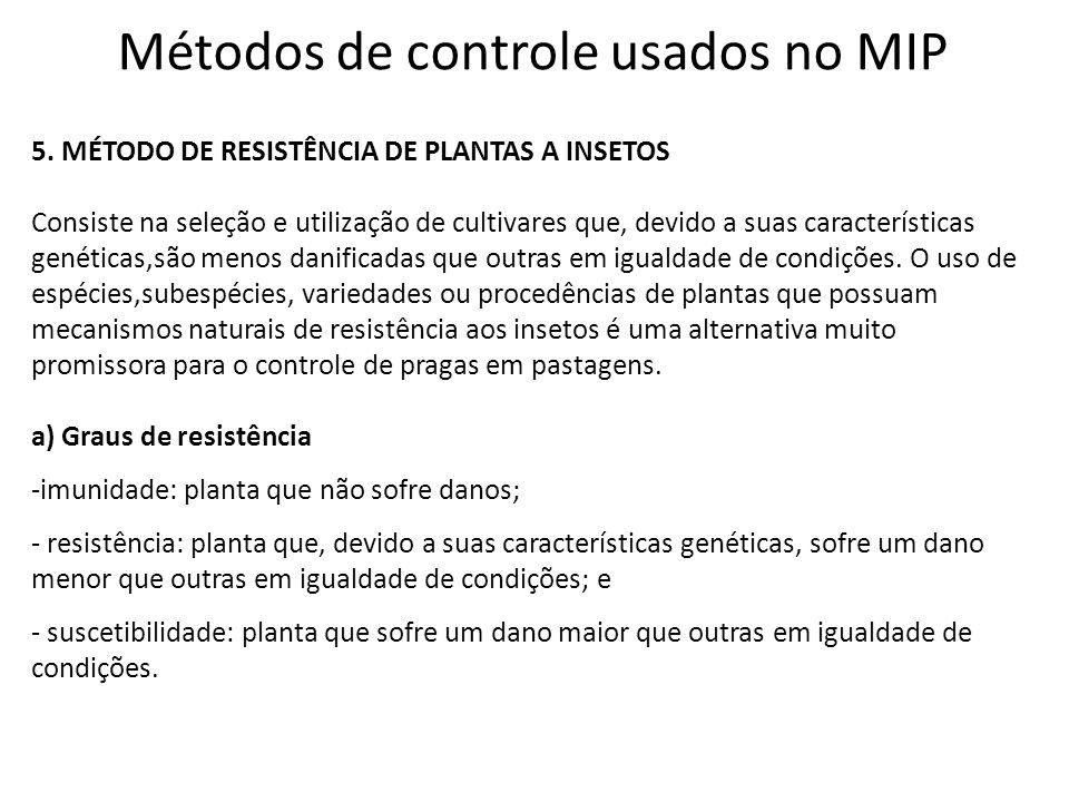 Métodos de controle usados no MIP 5. MÉTODO DE RESISTÊNCIA DE PLANTAS A INSETOS Consiste na seleção e utilização de cultivares que, devido a suas cara