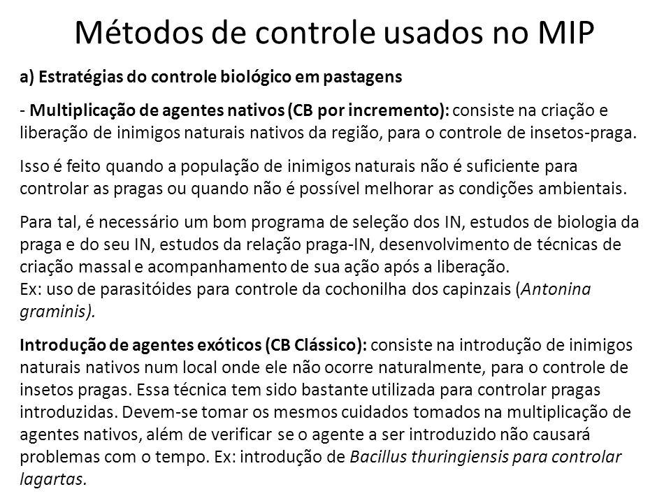 Métodos de controle usados no MIP a) Estratégias do controle biológico em pastagens - Multiplicação de agentes nativos (CB por incremento): consiste n