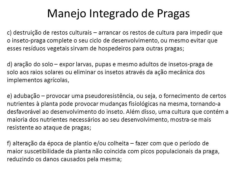 Manejo Integrado de Pragas c) destruição de restos culturais – arrancar os restos de cultura para impedir que o inseto-praga complete o seu ciclo de d