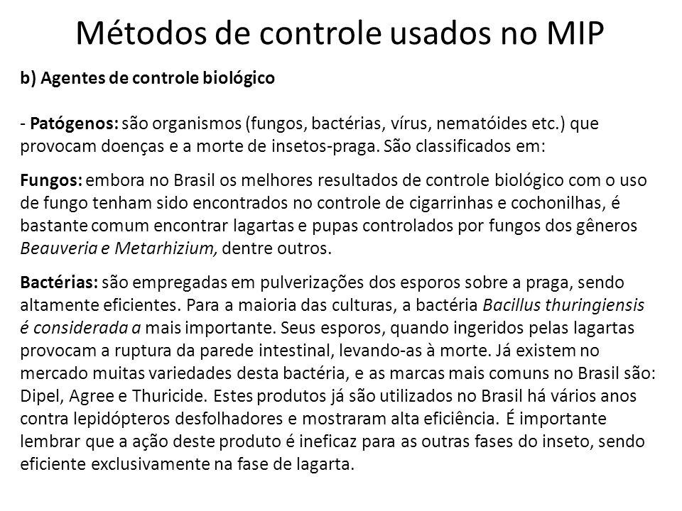 Métodos de controle usados no MIP b) Agentes de controle biológico - Patógenos: são organismos (fungos, bactérias, vírus, nematóides etc.) que provoca