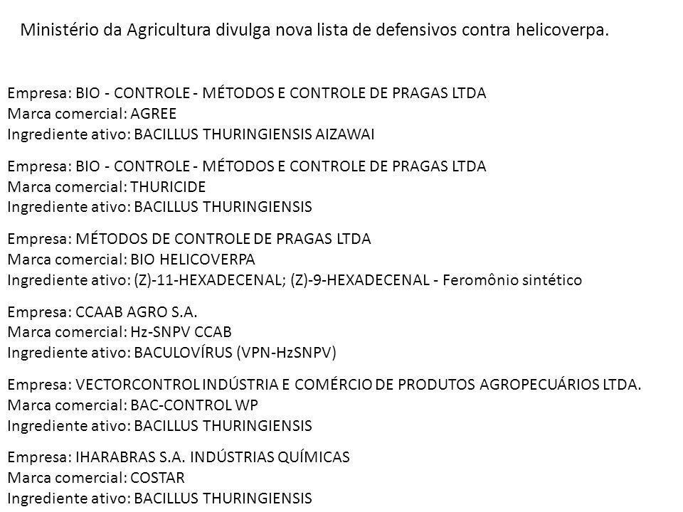 Ministério da Agricultura divulga nova lista de defensivos contra helicoverpa. Empresa: BIO - CONTROLE - MÉTODOS E CONTROLE DE PRAGAS LTDA Marca comer
