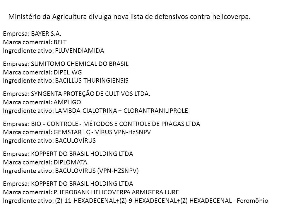 Ministério da Agricultura divulga nova lista de defensivos contra helicoverpa. Empresa: BAYER S.A. Marca comercial: BELT Ingrediente ativo: FLUVENDIAM
