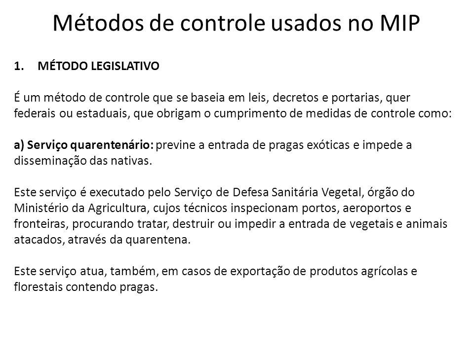 Métodos de controle usados no MIP 1.MÉTODO LEGISLATIVO É um método de controle que se baseia em leis, decretos e portarias, quer federais ou estaduais