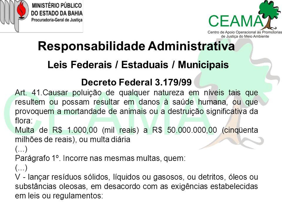 Responsabilidade Administrativa Leis Federais / Estaduais / Municipais Decreto Federal 3.179/99 Art. 41.Causar poluição de qualquer natureza em níveis