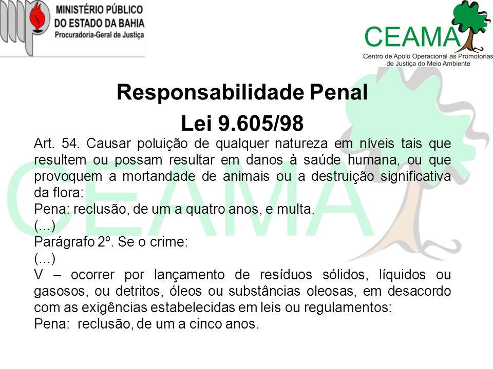 Responsabilidade Penal Lei 9.605/98 Art. 54. Causar poluição de qualquer natureza em níveis tais que resultem ou possam resultar em danos à saúde huma