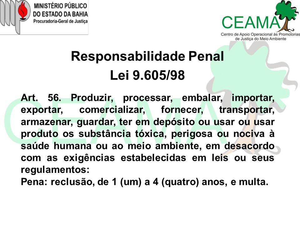 Responsabilidade Penal Lei 9.605/98 Art. 56. Produzir, processar, embalar, importar, exportar, comercializar, fornecer, transportar, armazenar, guarda