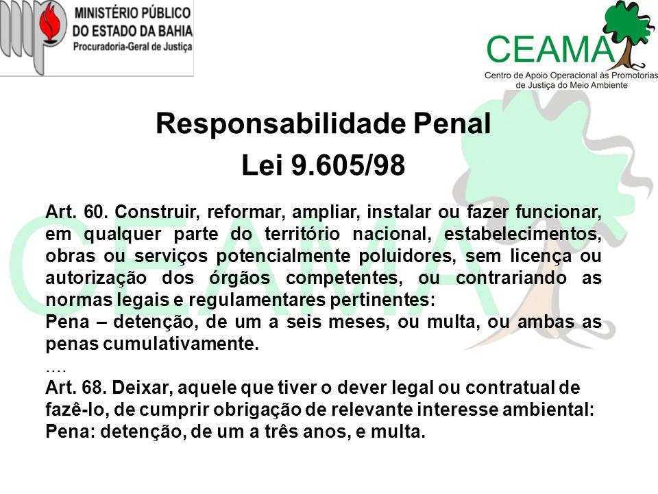 Responsabilidade Penal Lei 9.605/98 Art. 60. Construir, reformar, ampliar, instalar ou fazer funcionar, em qualquer parte do território nacional, esta