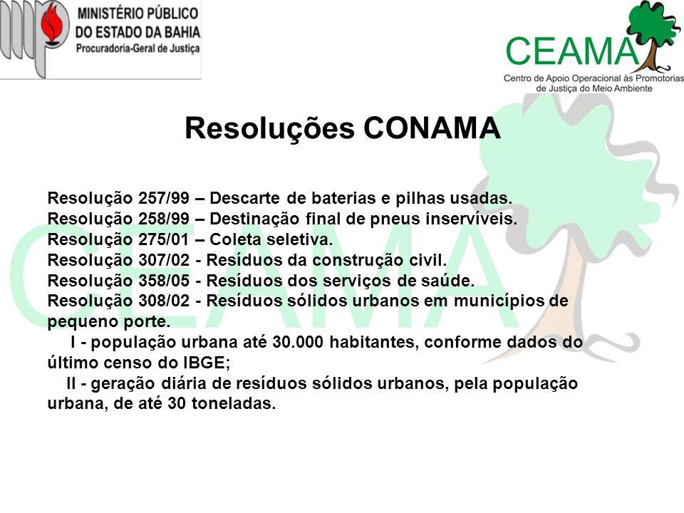 Resoluções CONAMA Resolução 257/99 – Descarte de baterias e pilhas usadas. Resolução 258/99 – Destinação final de pneus inservíveis. Resolução 275/01
