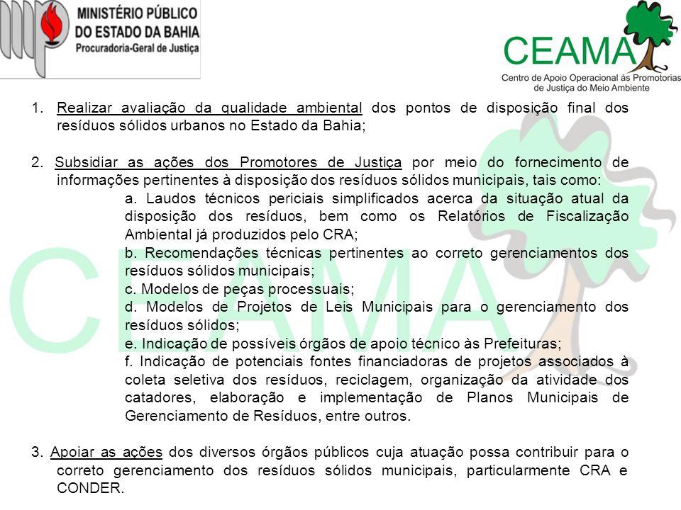 1.Realizar avaliação da qualidade ambiental dos pontos de disposição final dos resíduos sólidos urbanos no Estado da Bahia; 2. Subsidiar as ações dos