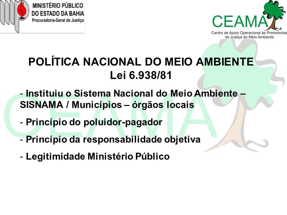 POLÍTICA NACIONAL DO MEIO AMBIENTE Lei 6.938/81 - Instituiu o Sistema Nacional do Meio Ambiente – SISNAMA / Municípios – órgãos locais - Princípio do