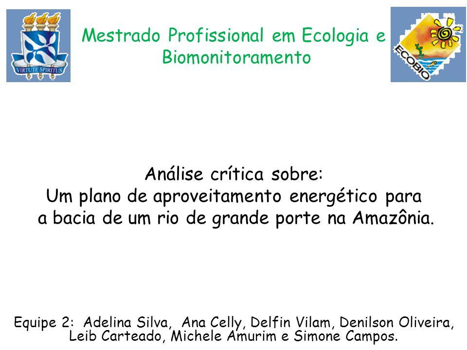 Mestrado Profissional em Ecologia e Biomonitoramento Análise crítica sobre: Um plano de aproveitamento energético para a bacia de um rio de grande por