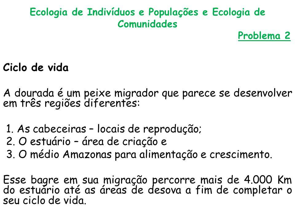 Ecologia de Indivíduos e Populações e Ecologia de Comunidades Problema 2 Ciclo de vida A dourada é um peixe migrador que parece se desenvolver em três