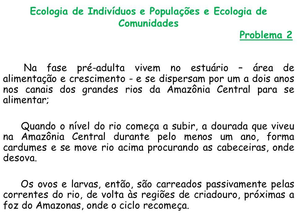 Ecologia de Indivíduos e Populações e Ecologia de Comunidades Problema 2 Na fase pré-adulta vivem no estuário – área de alimentação e crescimento - e