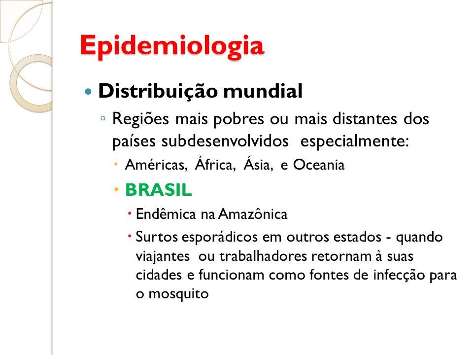Epidemiologia Distribuição mundial Regiões mais pobres ou mais distantes dos países subdesenvolvidos especialmente: Américas, África, Ásia, e Oceania