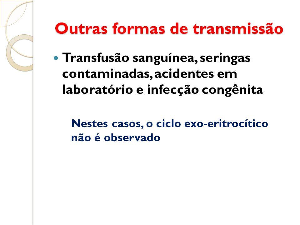 Outras formas de transmissão Outras formas de transmissão Transfusão sanguínea, seringas contaminadas, acidentes em laboratório e infecção congênita N