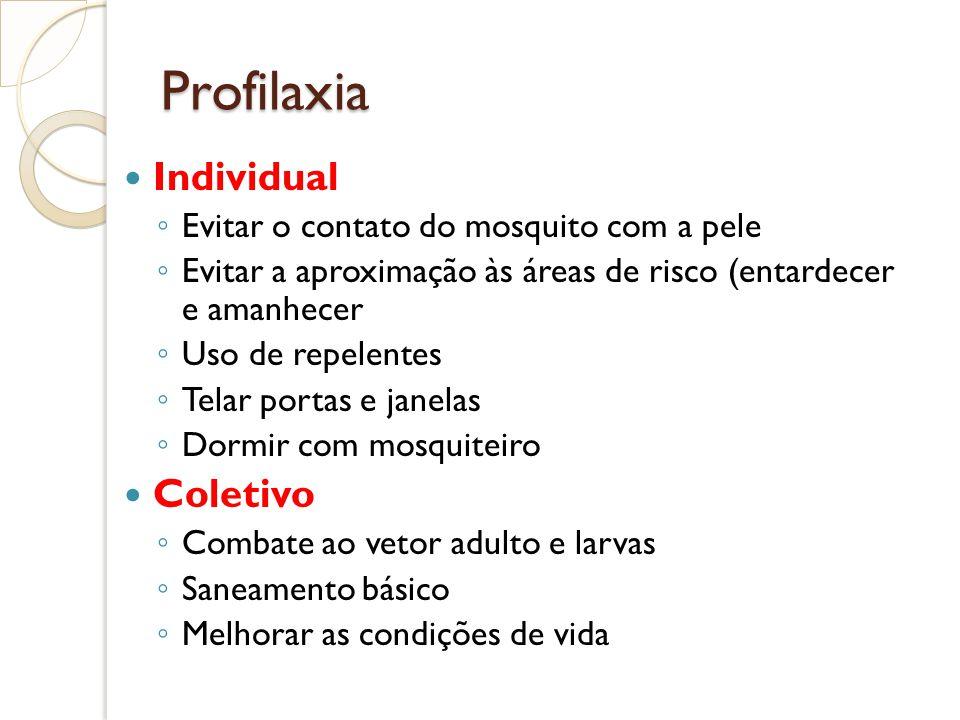 Profilaxia Individual Evitar o contato do mosquito com a pele Evitar a aproximação às áreas de risco (entardecer e amanhecer Uso de repelentes Telar p