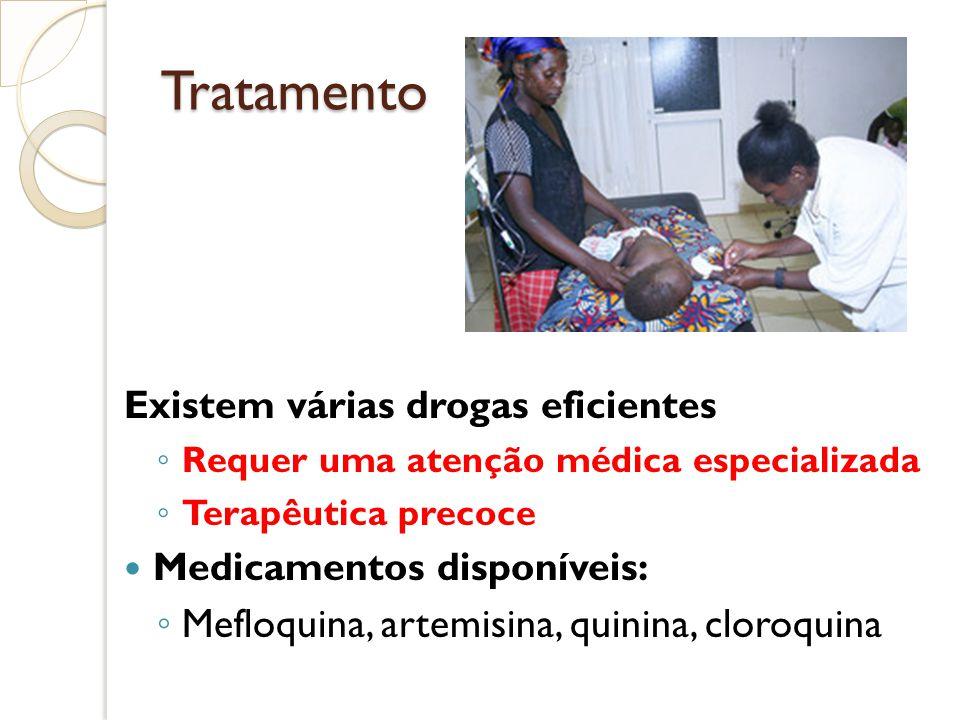 Tratamento Existem várias drogas eficientes Requer uma atenção médica especializada Terapêutica precoce Medicamentos disponíveis: Mefloquina, artemisi