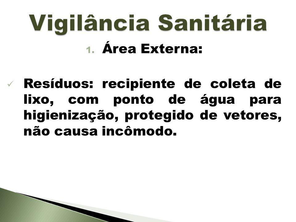 1. Área Externa: Resíduos: recipiente de coleta de lixo, com ponto de água para higienização, protegido de vetores, não causa incômodo.