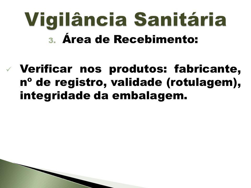 3. Área de Recebimento: Verificar nos produtos: fabricante, nº de registro, validade (rotulagem), integridade da embalagem.