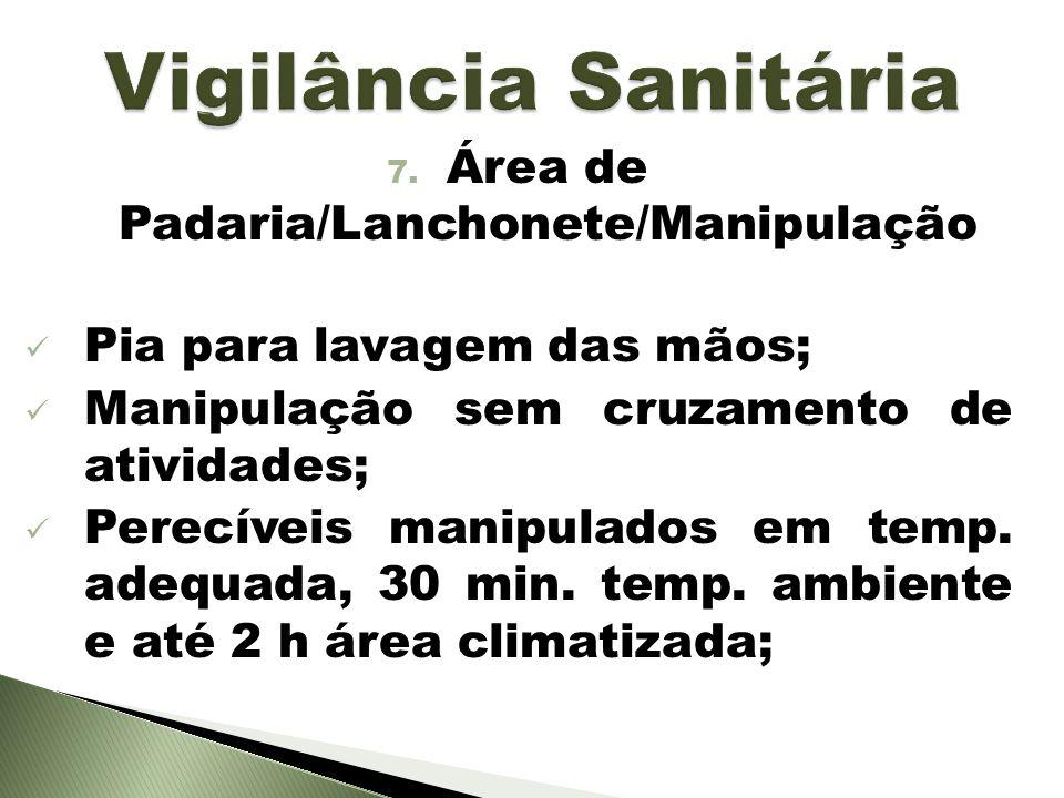 7. Área de Padaria/Lanchonete/Manipulação Pia para lavagem das mãos; Manipulação sem cruzamento de atividades; Perecíveis manipulados em temp. adequad