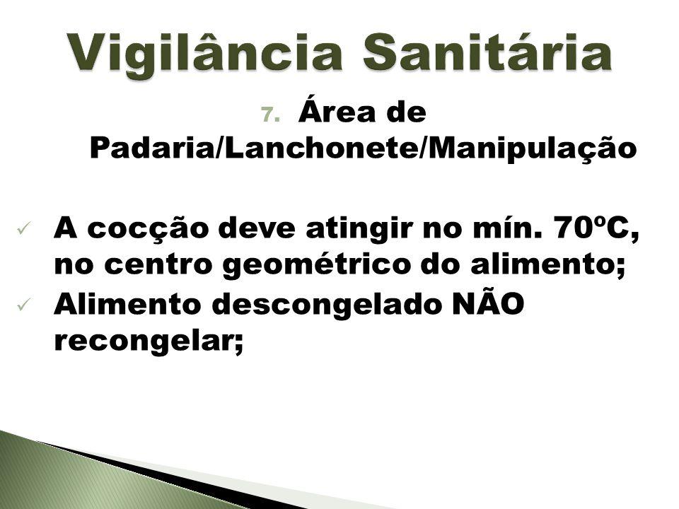 7. Área de Padaria/Lanchonete/Manipulação A cocção deve atingir no mín. 70ºC, no centro geométrico do alimento; Alimento descongelado NÃO recongelar;