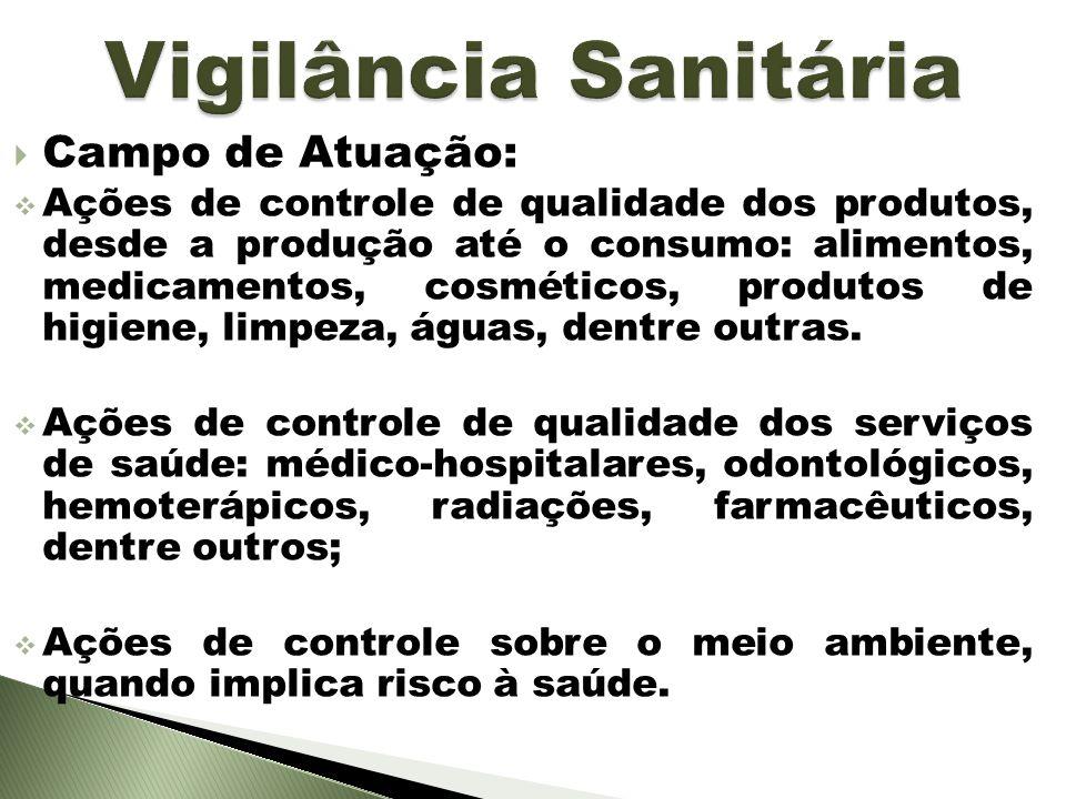 Campo de Atuação: Ações de controle de qualidade dos produtos, desde a produção até o consumo: alimentos, medicamentos, cosméticos, produtos de higien