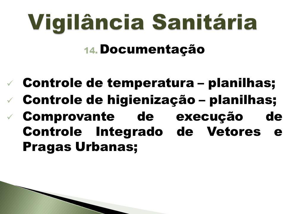 14. Documentação Controle de temperatura – planilhas; Controle de higienização – planilhas; Comprovante de execução de Controle Integrado de Vetores e