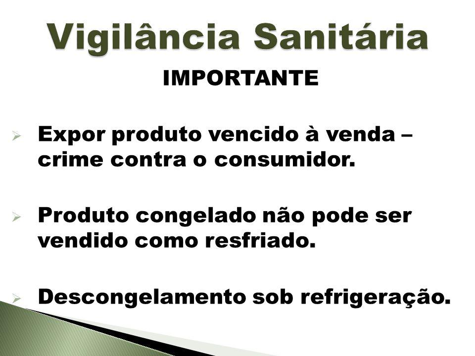 IMPORTANTE Expor produto vencido à venda – crime contra o consumidor. Produto congelado não pode ser vendido como resfriado. Descongelamento sob refri