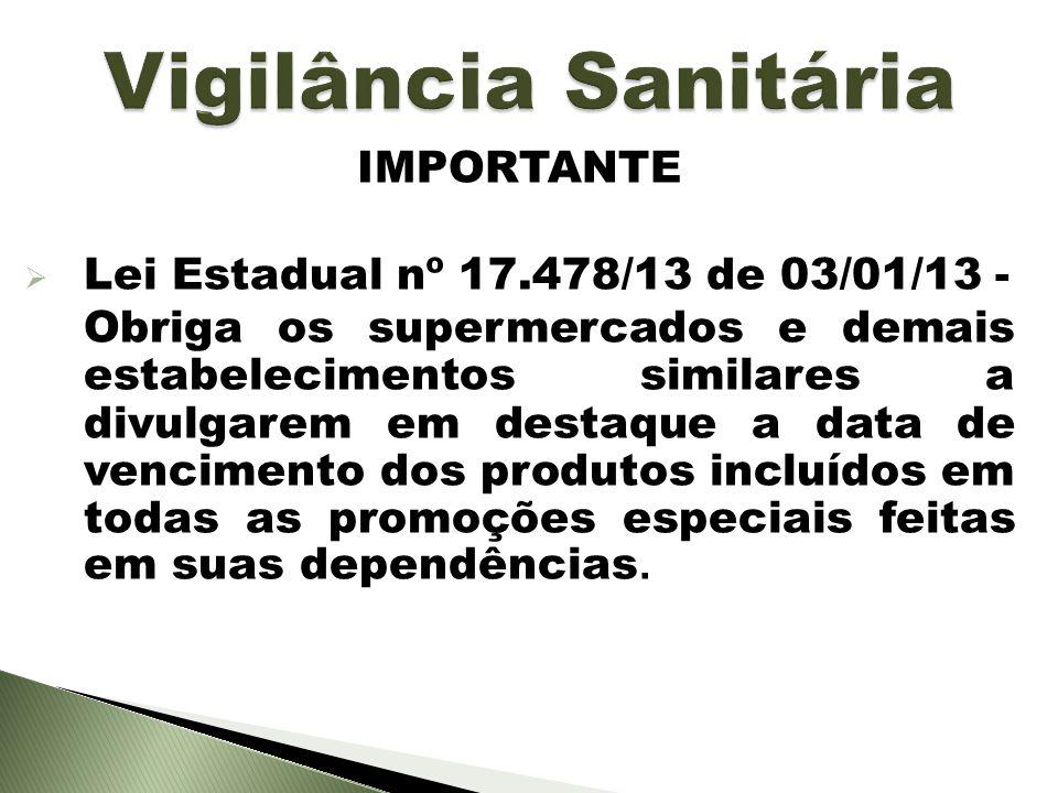 IMPORTANTE Lei Estadual nº 17.478/13 de 03/01/13 - Obriga os supermercados e demais estabelecimentos similares a divulgarem em destaque a data de venc