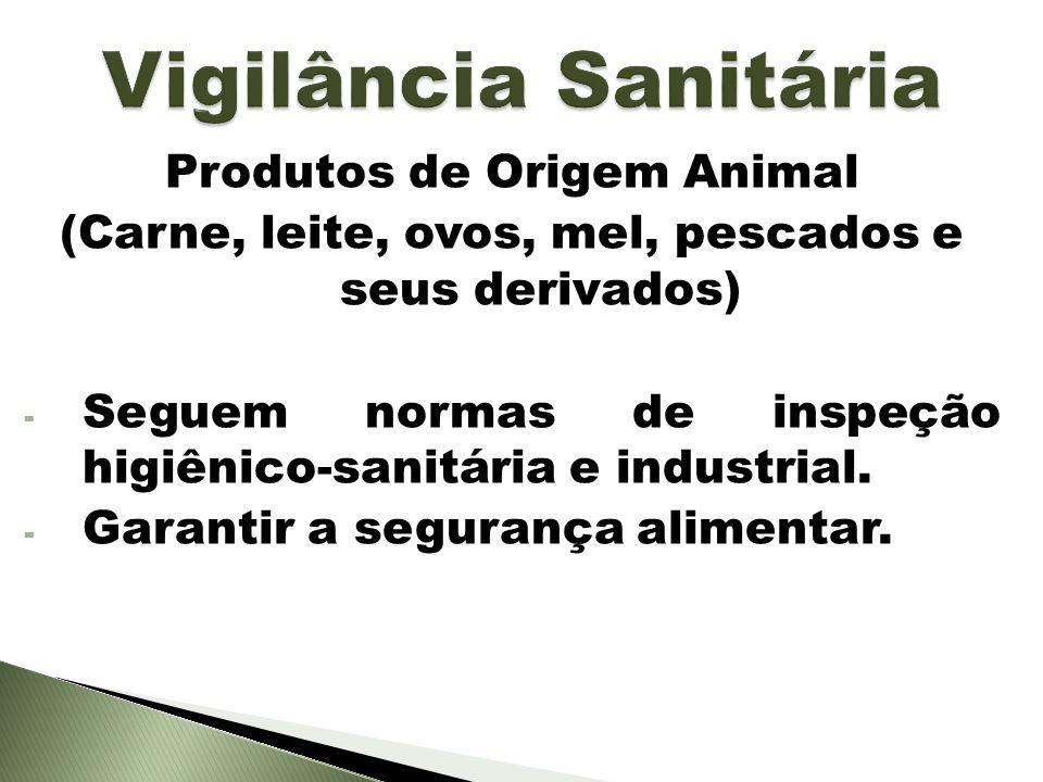 Produtos de Origem Animal (Carne, leite, ovos, mel, pescados e seus derivados) - Seguem normas de inspeção higiênico-sanitária e industrial. - Garanti