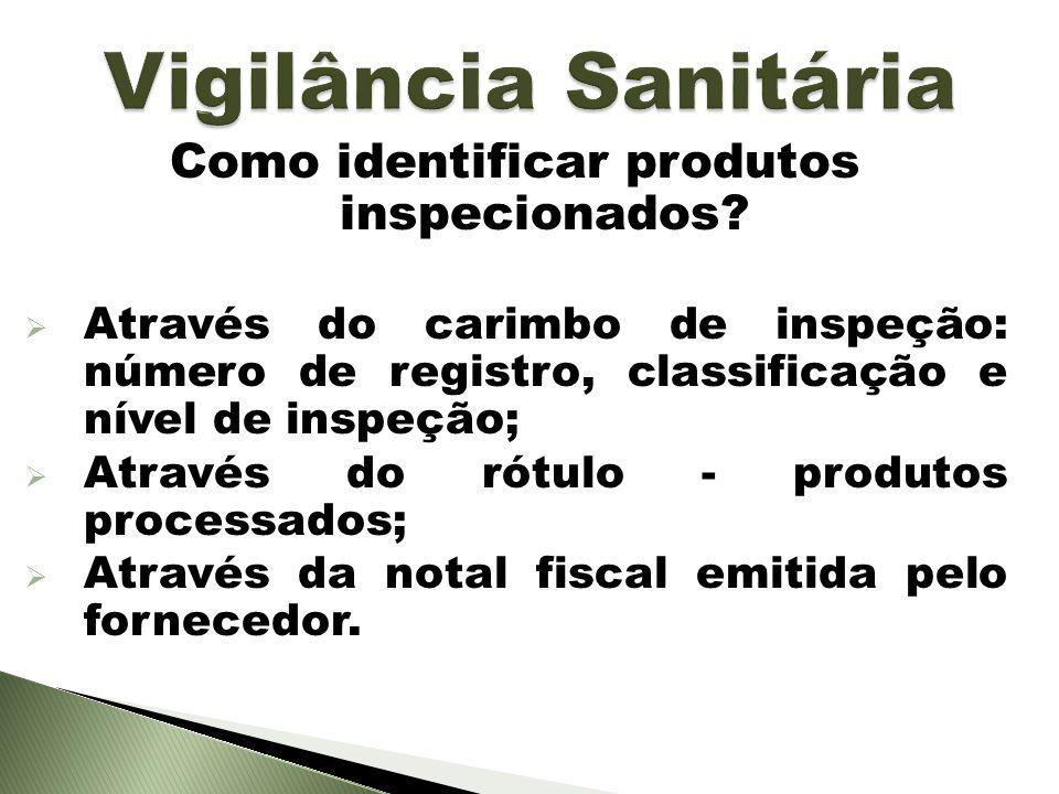 Como identificar produtos inspecionados? Através do carimbo de inspeção: número de registro, classificação e nível de inspeção; Através do rótulo - pr