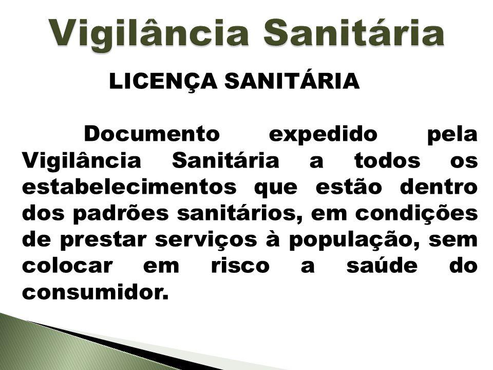 LICENÇA SANITÁRIA Documento expedido pela Vigilância Sanitária a todos os estabelecimentos que estão dentro dos padrões sanitários, em condições de pr