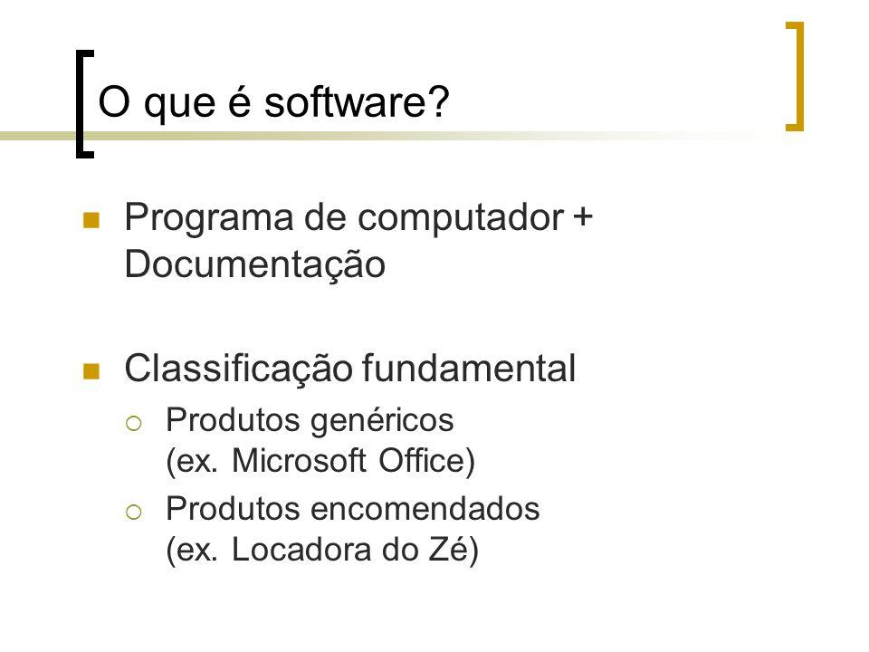 O que é software? Programa de computador + Documentação Classificação fundamental Produtos genéricos (ex. Microsoft Office) Produtos encomendados (ex.